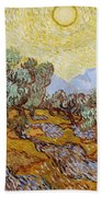 Olive Trees With Yellow Sky And Sun Beach Towel