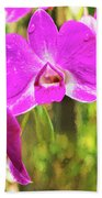 Orchid Oil Painting Beach Towel