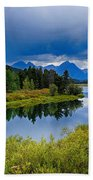 Oxbow Bend Storm Clouds Beach Towel