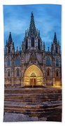 Panorama Of Cathedral Of The Holy Cross And Saint Eulalia In The Beach Towel