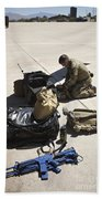 Pararescuemen Sorts Out His Gear Beach Towel