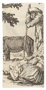 Peasant Couple With Cow Beach Towel