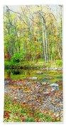 Pennsylvania Stream In Autumn, Digital Art Beach Towel