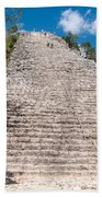 People Climbing Nohoch Mul At The Coba Ruins  Beach Towel
