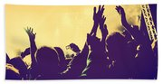 People With Hands Up In Night Club Beach Towel
