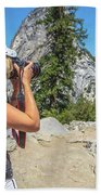 Photographer In Yosemite Waterfalls Beach Towel