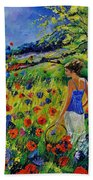 Picking Flowers Beach Towel