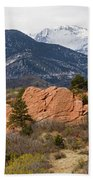 Pikes Peak From Red Rocks Canyon Beach Towel