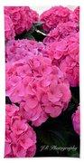 Pink Hydrangeas Beach Towel