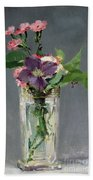 Pinks And Clematis In A Crystal Vase Beach Towel