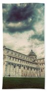 Pisa Cathedral With The Leaning Tower Of Pisa, Tuscany, Italy. Vintage Beach Towel