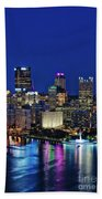 Pittsburgh Night Skyline Beach Towel