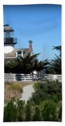 Point Pinos Lighthouse In Pacific Grove, California Beach Sheet