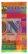 Pop-art Colorized One U. S. Dollar Bill Reverse Beach Towel