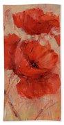 Poppy Flowers Handmade Oil Painting On Canvas Beach Towel