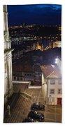 Porto By Night In Portugal Beach Towel
