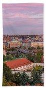 Prague Skyline At Sunset Beach Towel