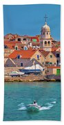 Prvic Sepurine Waterfront And Stone Architecture View Beach Towel