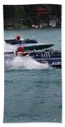 Racing Hydroplanes Boats On The Detroit River For Gold Cup Beach Towel