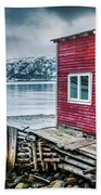 Red Boathouse In Norris Point, Newfoundland Beach Towel