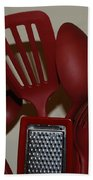 Red Kitchen Utencils Beach Towel