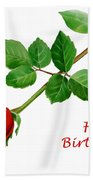 Red Rose Happy Birthday  Beach Towel