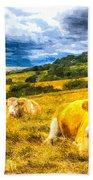 Resting Cows Art Beach Towel