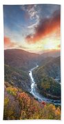 River Meander At Sunrise Beach Towel