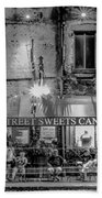 River Street Sweets Candy Store Black White  Beach Towel