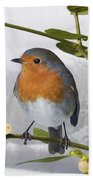 Robin On Mistletoe Beach Towel
