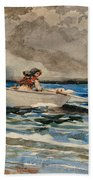 Rowing At Prouts Neck Beach Towel by Winslow Homer