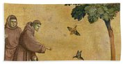 Saint Francis Of Assisi Preaching To The Birds Beach Sheet