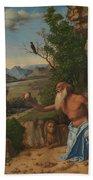 Saint Jerome In A Landscape Beach Towel