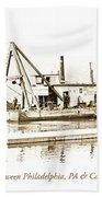 Salvage Barge, Delaware River, Philadelphia, C.1900 Beach Towel