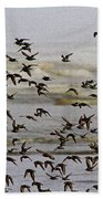 Sand Pipers In Flight Beach Towel