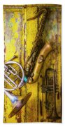 Sax French Horn And Trumpet Beach Towel
