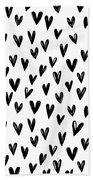 Seamless Pattern With Hand Drawn Hearts.  Beach Towel