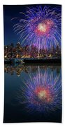 Seattle Skyline And Fireworks Beach Towel