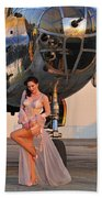 Sexy 1940s Pin-up Girl In Lingerie Beach Towel