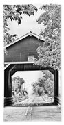 Shimanek Covered Bridge -surreal Bw Beach Towel