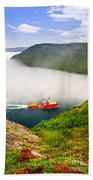 Ship Entering The Narrows Of St John's Beach Towel