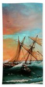 Ships In A Storm At Sunset Beach Towel