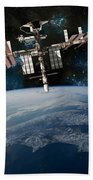 Shuttle Docked At Space Station Beach Towel