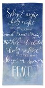 Silent Night Holy Night Beach Towel