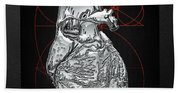 Silver Human Heart On Black Canvas Beach Towel