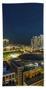 Singapore Cityscape At Night Beach Towel