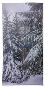 Snow Covered Trees In The North Carolina Mountains During Winter Beach Towel