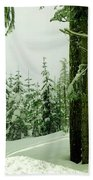 Snow In The Forest Beach Towel