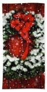 Snowy Christmas Wreath Card Beach Towel