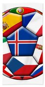Soccer Ball With Flag Of Iceland In The Center Beach Towel
